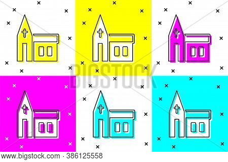 Set Church Building Icon Isolated On Color Background. Christian Church. Religion Of Church. Vector