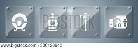 Set Death Certificate In Hand, Hammer, Funeral Urn And Memorial Wreath. Square Glass Panels. Vector