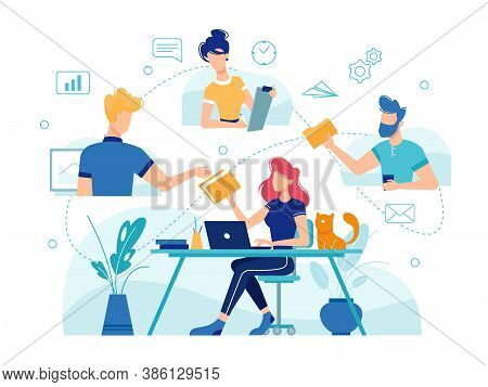Teamwork Online Home Office, Team People Work Management And Communication, Flat And Thin Line Illus