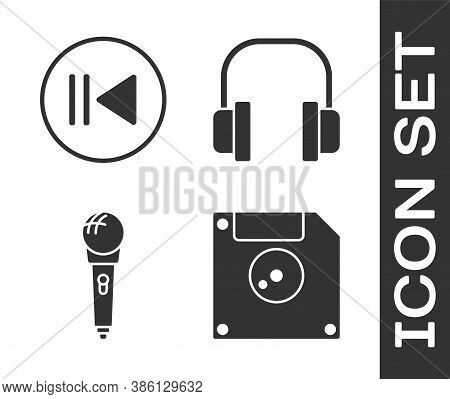 Set Floppy Disk For Computer Data Storage, Rewind, Microphone And Headphones Icon. Vector