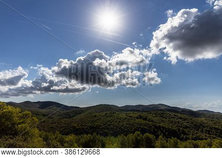 Park Natural Garraf, Green Mountains With Blue Sky And Clouds, Mas Alba, Sitges, Spain