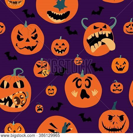 Halloween Spooky Night Seamless Pattern With Various Pumpkins. Jack O Lanterns With Protruding Tongu