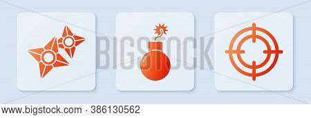 Set Bomb Ready To Explode, Japanese Ninja Shuriken And Target Sport. White Square Button. Vector
