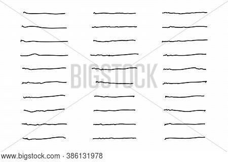 Set Of Black Color Doodle Line Handdrawing On White Background
