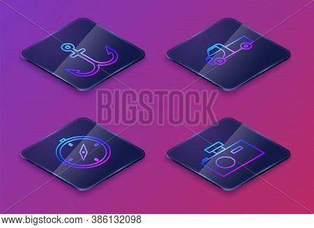 Set Isometric Line Anchor, Compass, Pickup Truck And Photo Camera. Blue Square Button. Vector