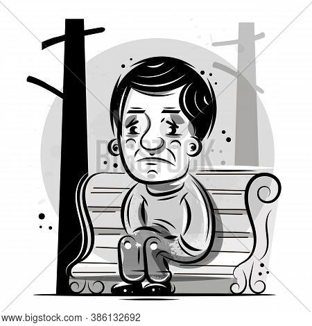 Single Person Sits And Thinks, Ready For Your Design, Greeting Card, Banner. Vector