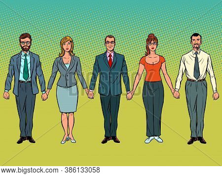 Men And Women Joined Hands. Civil Protest. Politics And Freedom. Pop Art Retro Vector Illustration K