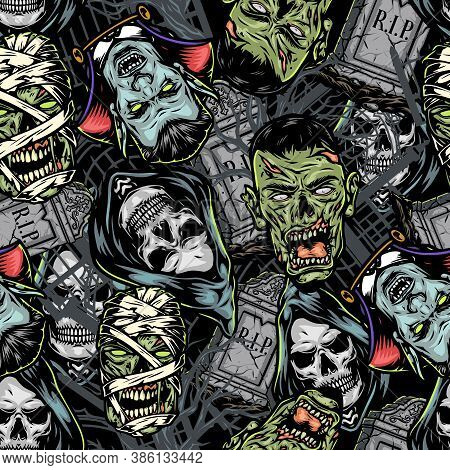 Halloween Vintage Colorful Seamless Pattern With Tombstones Creepy Vampire Grim Reaper Zombie Mummy