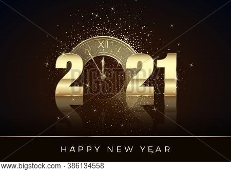 Golden Clock Instead Of Zero In 2021. Happy New Year Greeting Card. Holiday Midnight Countdown. Chri