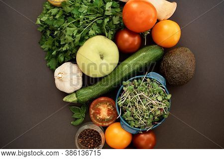 Vegetables Dark Background With Copy Space. Healthy Meal. Menu, Price Background