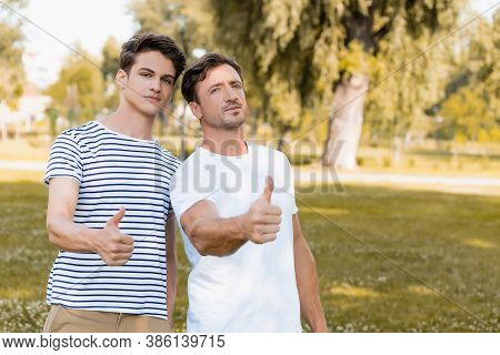 Father And Teenager Son Showing Thumbs Up In Park