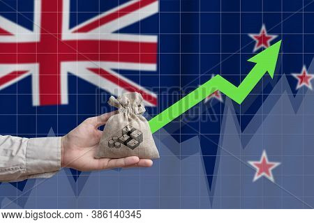 The Concept Of Economic Growth In New Zealand. Hand Holds A Bag With Money And An Upward Arrow.