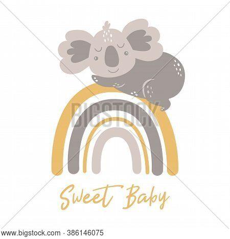 Cute Baby Koala Sleep On Rainbow Baby Animal Scandinavian Koala Bear. Childish Funny Character Koala