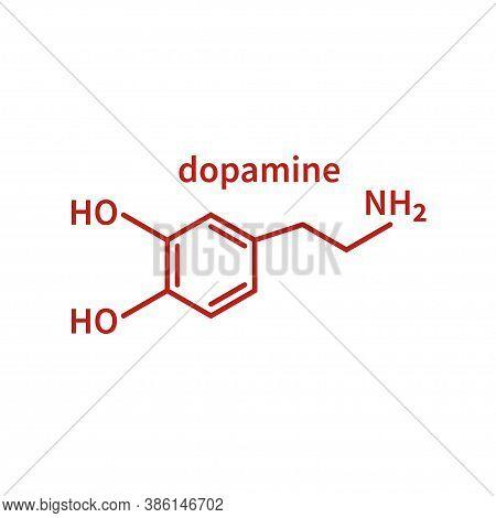 Skeletal Formula Of Dopamine. Structural Chemical Formula Of Dopamine Molecule Isolated On White Bac