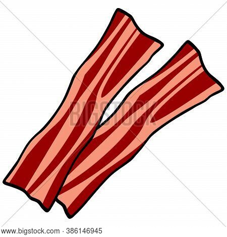 Bacon Strips - A Cartoon Illustration Of A Few Slices Of Bacon.