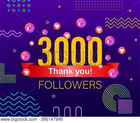 Thank You 3000 Followers Numbers. Congratulating Multicolored Thanks Image For Net Friends Likes.