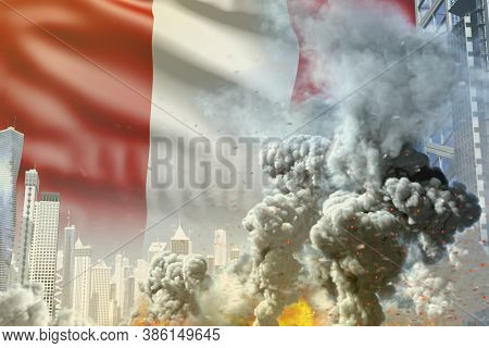 Big Smoke Column With Fire In Abstract City - Concept Of Industrial Catastrophe Or Act Of Terror On