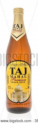 Winneconne , Wi - 19 September 2020:  A Bottle Of Taj Mahal Lager Beer From India On An Isolated Bac