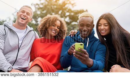 Multi Ethnic Friends Outdoor Looking Smartphone Screen. Diverse Group People Afro American Asian Cau
