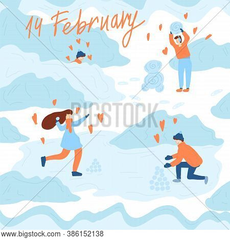 Cute Winter Illustration Of A Happy Loving Couples At The Winter Meetings. Lovers Walk And Play With