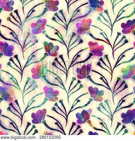 Blurry Rainbow Glitch Artistic Floral Texture Background. Irregular Bleeding Watercolor Tie Dye Seam