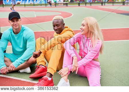 Multi-ethnic Group Teenage Friends. African-american Caucasian Student Spending Time Together Multir