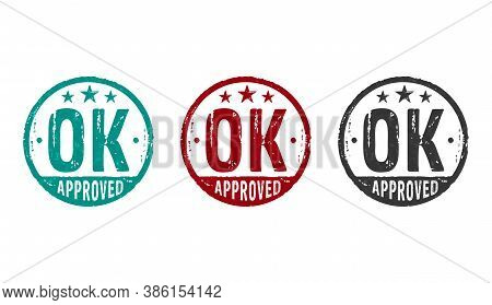 Ok Approved Stamp Icons In Few Color Versions. Found, Accepted, Admitted And Success Concept.