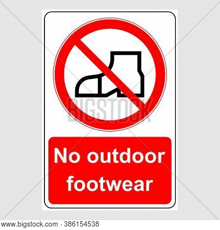 Water Safety Signs - No Outdoor Footwear. Prohibition Sign: No Outdoor Footwear.