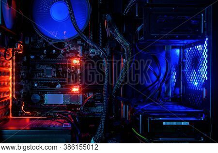 Computer With Internal Led Rgb Lights And Cpu Cooling Fans, Hardware Inside Open High Performance De