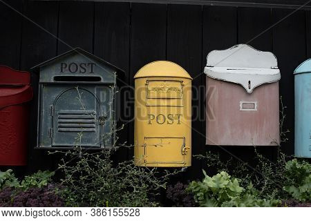 Vintage Mailbox. Beautiful Old-fashioned Mailboxes Black Yellow Red. Shabby Weathered Postbox Set, B