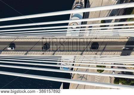 Road And Traffic. Aerial View On The Cruise Ship And Bridge In The Port. Adventure And Travel. Medit