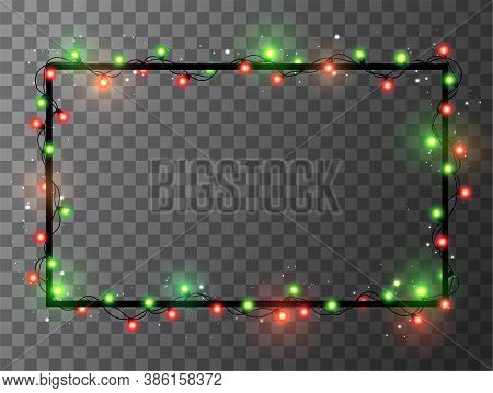 Christmas Bright Red And Green Garland On Black Square Frame. Template With Realistic Lights On Tran