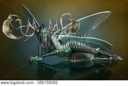 3d Computer Graphics Of A Female Elf With Dragonfly Wings And A Headdress Of Antlers
