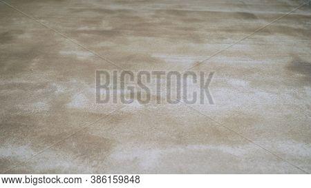 Primed Floor. Primed Concrete Floors. Fresh Primer In The Garage.