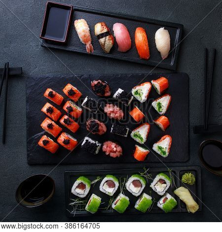 Seafood Delicatessen Sushi Rolls On Slate. Different Gourmet Snacks. Luxury Lifestyle, Expensive Foo