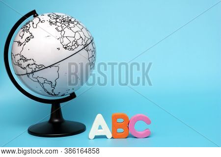 English Abc Alphabet Letters Next To Black And White Globe. Learning Foreign Language. English For B