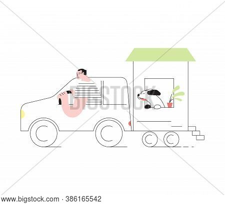 Young And His Friend Dog Traveling By Car With Their Movable Tiny House. People In Inexpensive Vacat