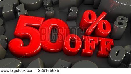 50% Off. Fifty-fifty. Red Fifty Percent. Red Fifty Percent On Black Background. 3d Render.