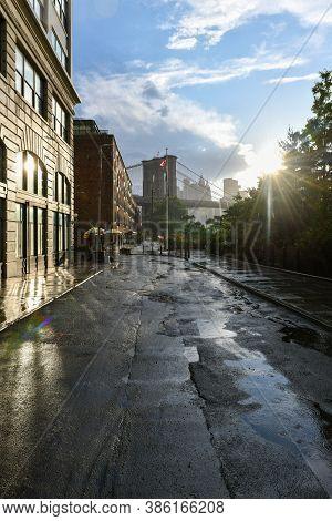 New York City - Jun 28, 2020: Tower Of The Brooklyn Bridge From Brooklyn Bridge Park In Brooklyn, Ne