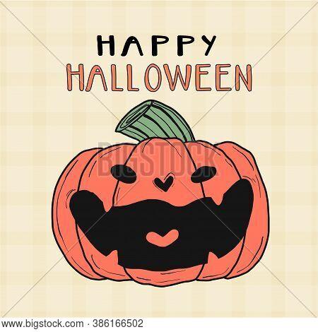 Cute Orange Pumpkin Laugh Smile Halloween Craving Cartoon Flat Vector Clip Art, Idea For Greeting Ca