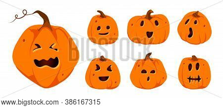Set Of Halloween Pumpkins Paper Cut Icons. Different Shapes Squash With Carved Cute Faces Emotion. S