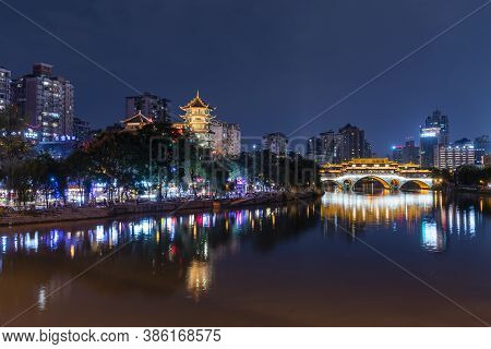 Chengdu, China - Aug 28, 2019: View Of Modern Buildings And Traditional Architecture In Chengdu City