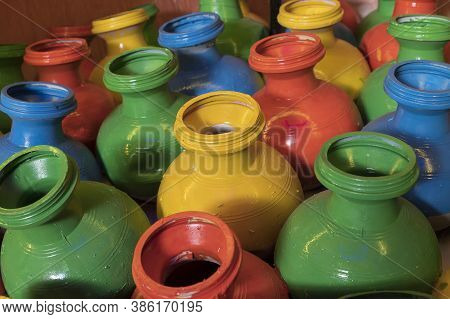 Auspicious Pots Are Painted With Colors And Displayed At Pandal, During Durga Puja Festival At Night