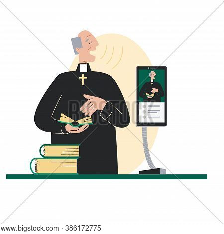 The Pastor Conducts Church Services Online. Pastor Is Broadcast Via The Smartphone. Concept Church A