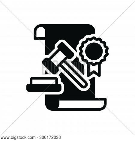 Black Solid Icon For Legal Statutory Juridical Lawful Authorized Legalized Hammer Courthouse