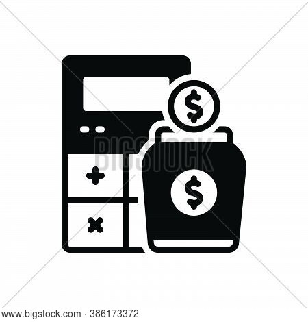 Black Solid Icon For Income Earning Wages Revenue Finances Yield Calculator Money Received Stipend