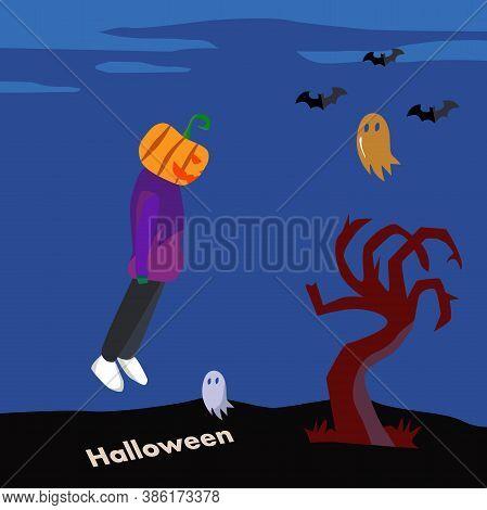 Helloween Pumpkin Man With Bats In The Night Forest. Cartoon Illustration.