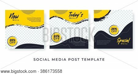 Culinary Feed Post Set With Photo Image Space. Social Media Template For Food Banner Yellow Design.