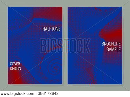 Vibrant Saturated Cover Design Templates With Blue Red Halftone Dotted Backgrounds. Layouts For Book