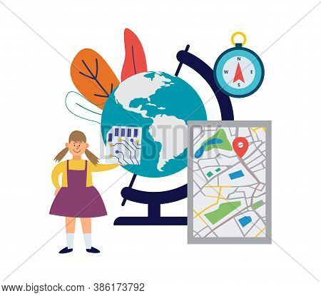 Vector Set Of Elements For Geographical School Educati